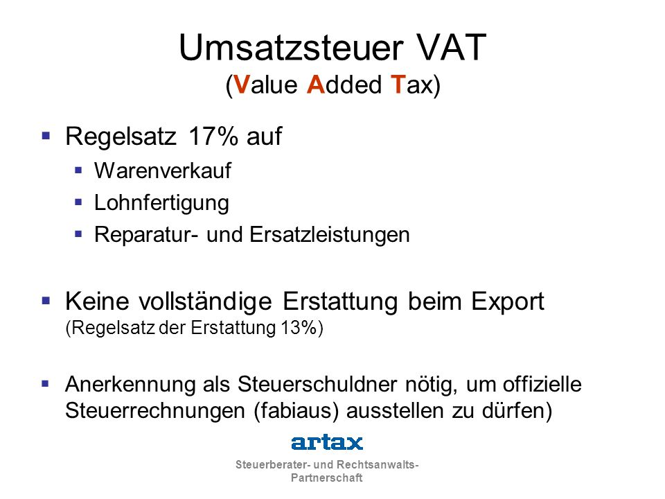 Umsatzsteuer VAT (Value Added Tax)