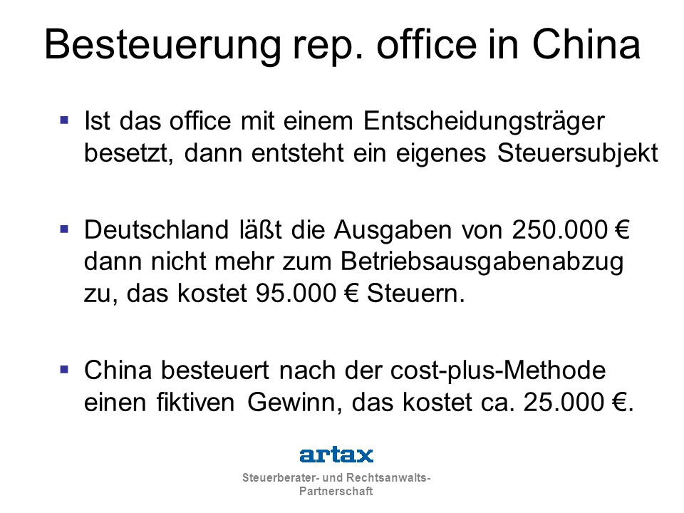 Besteuerung rep. office in China