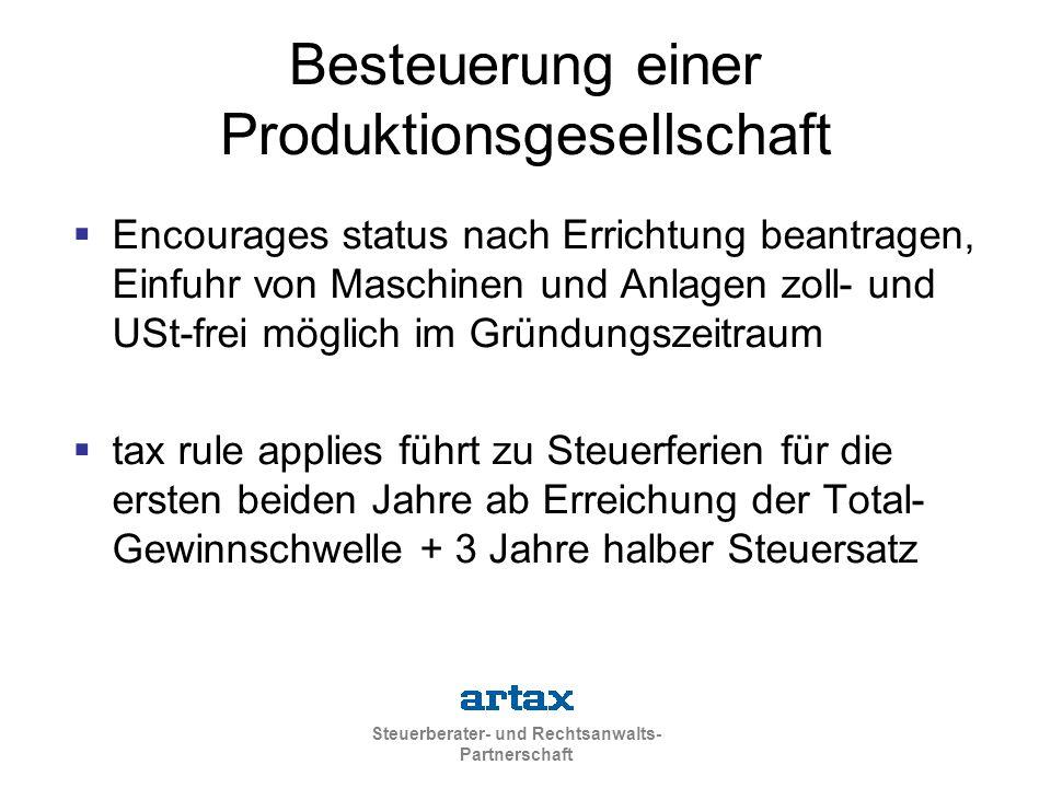 Besteuerung einer Produktionsgesellschaft