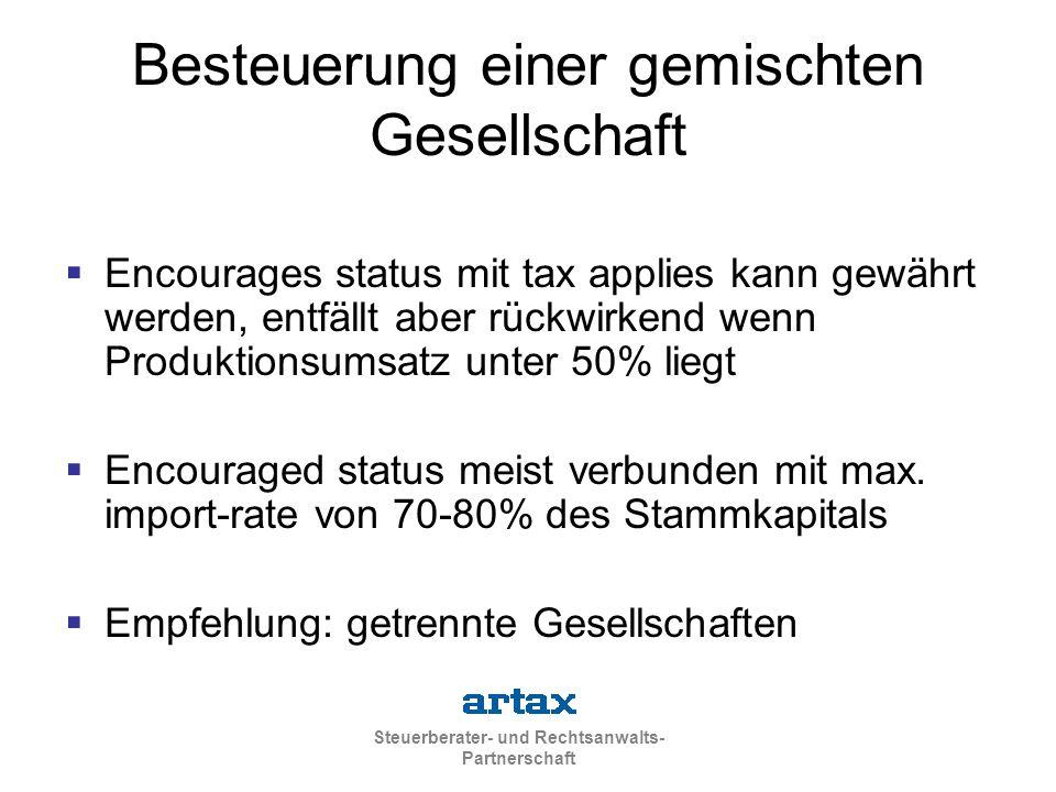 Besteuerung einer gemischten Gesellschaft