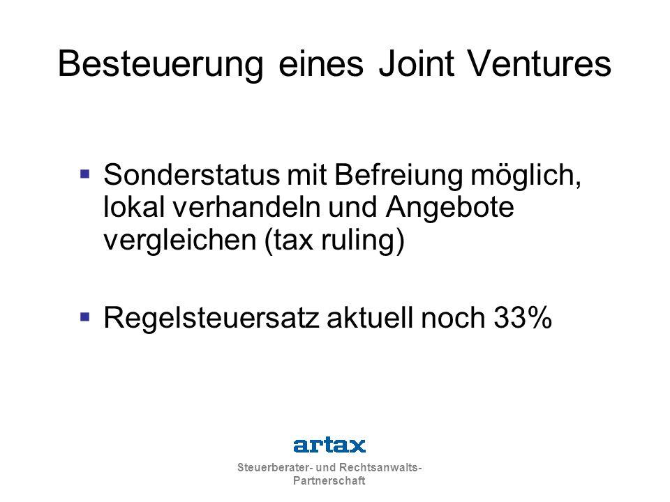 Besteuerung eines Joint Ventures