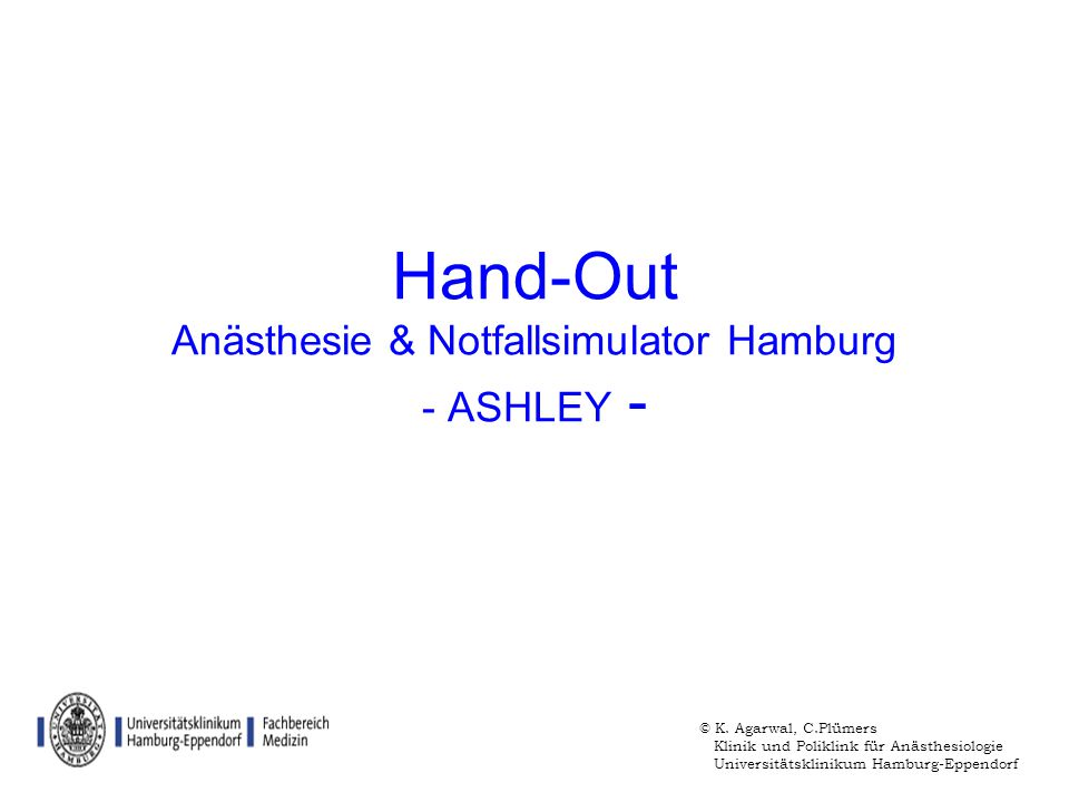 Hand-Out Anästhesie & Notfallsimulator Hamburg - ASHLEY -