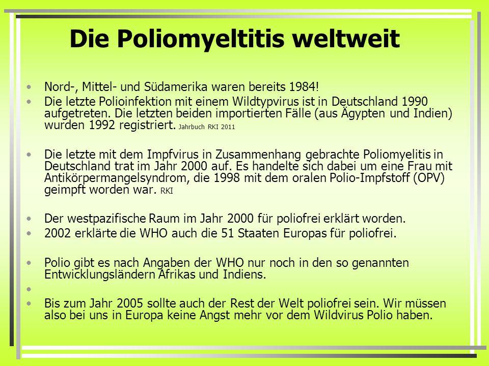 Die Poliomyeltitis weltweit