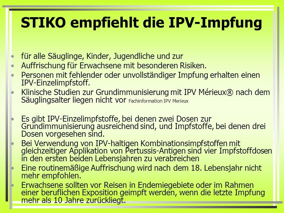 STIKO empfiehlt die IPV-Impfung