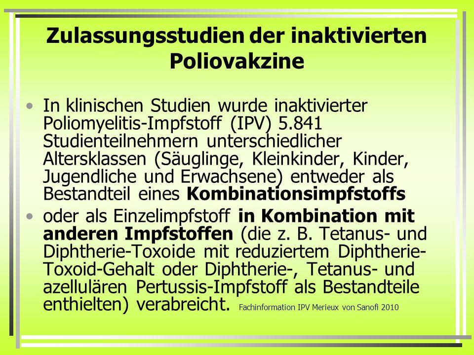 Zulassungsstudien der inaktivierten Poliovakzine