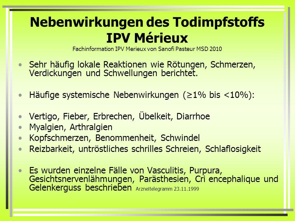 Nebenwirkungen des Todimpfstoffs IPV Mérieux Fachinformation IPV Merieux von Sanofi Pasteur MSD 2010