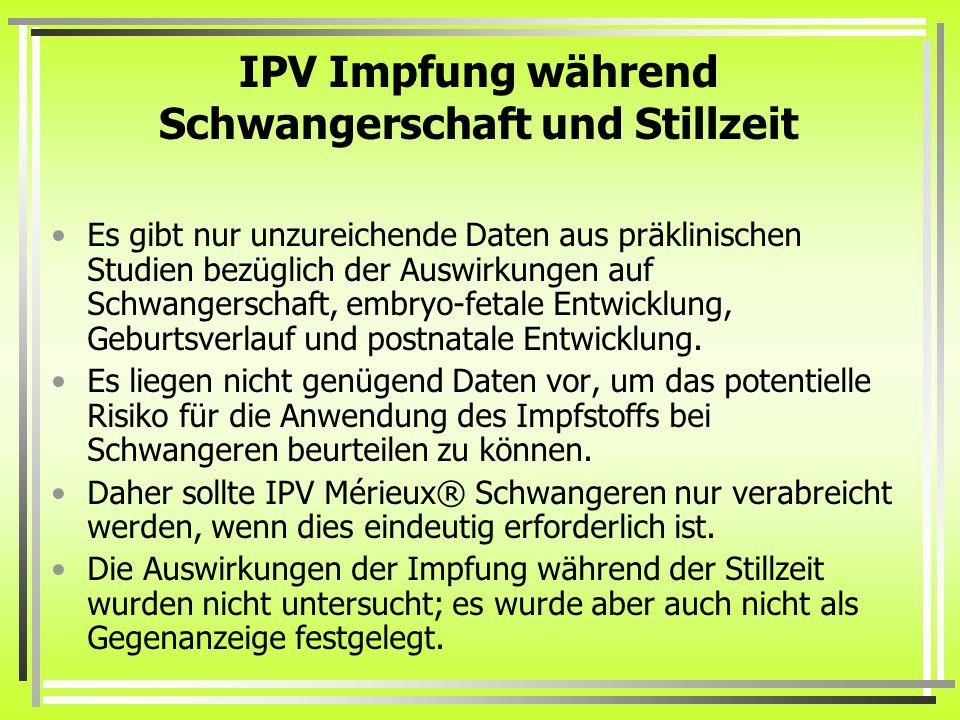 IPV Impfung während Schwangerschaft und Stillzeit