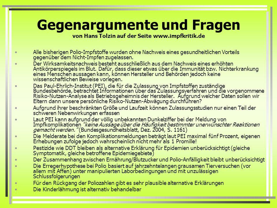 Gegenargumente und Fragen von Hans Tolzin auf der Seite www.impfkritik.de