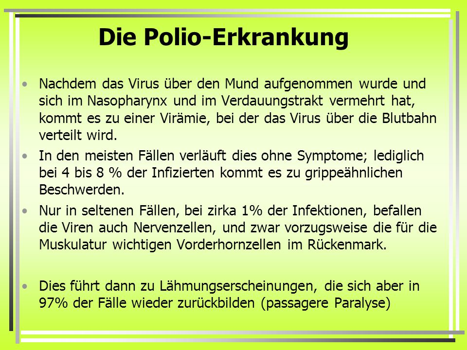 Die Polio-Erkrankung