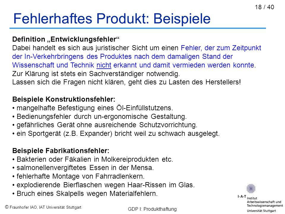 Fehlerhaftes Produkt: Beispiele