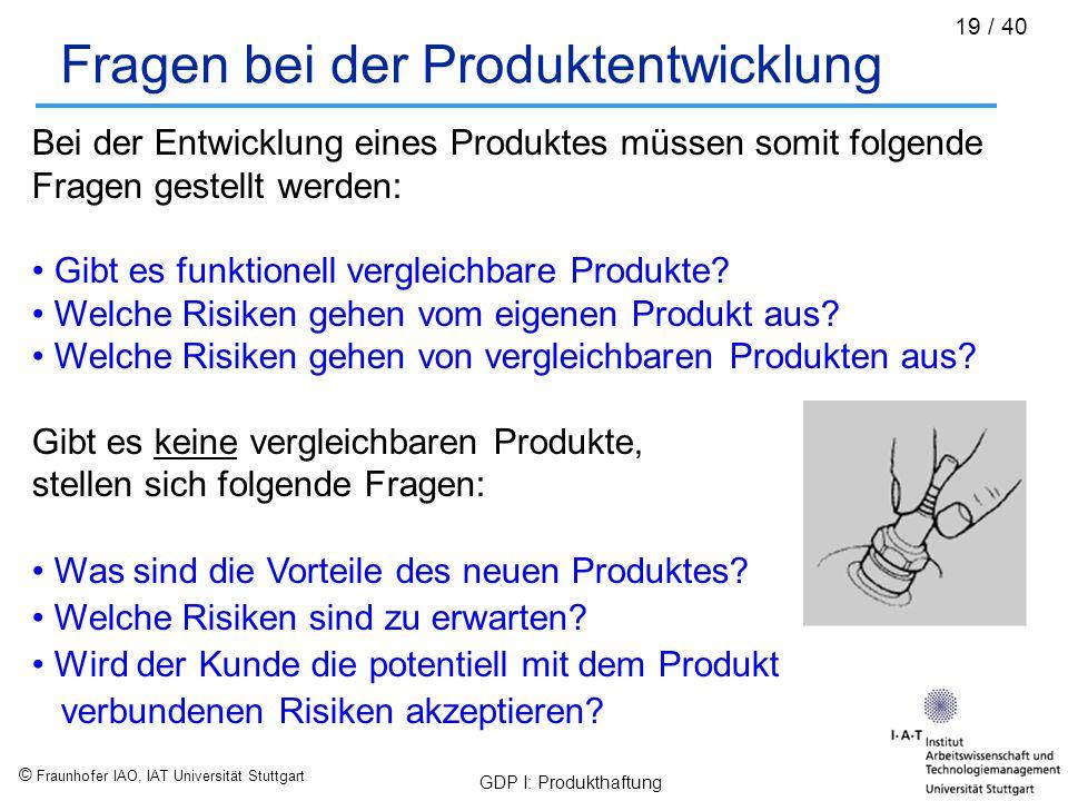 Fragen bei der Produktentwicklung