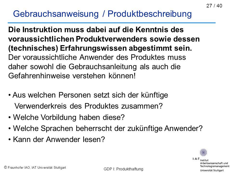 Gebrauchsanweisung / Produktbeschreibung