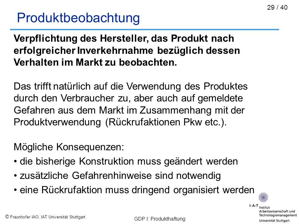 Produktbeobachtung Verpflichtung des Hersteller, das Produkt nach