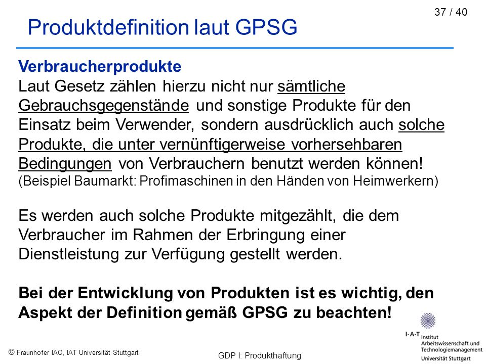 Produktdefinition laut GPSG