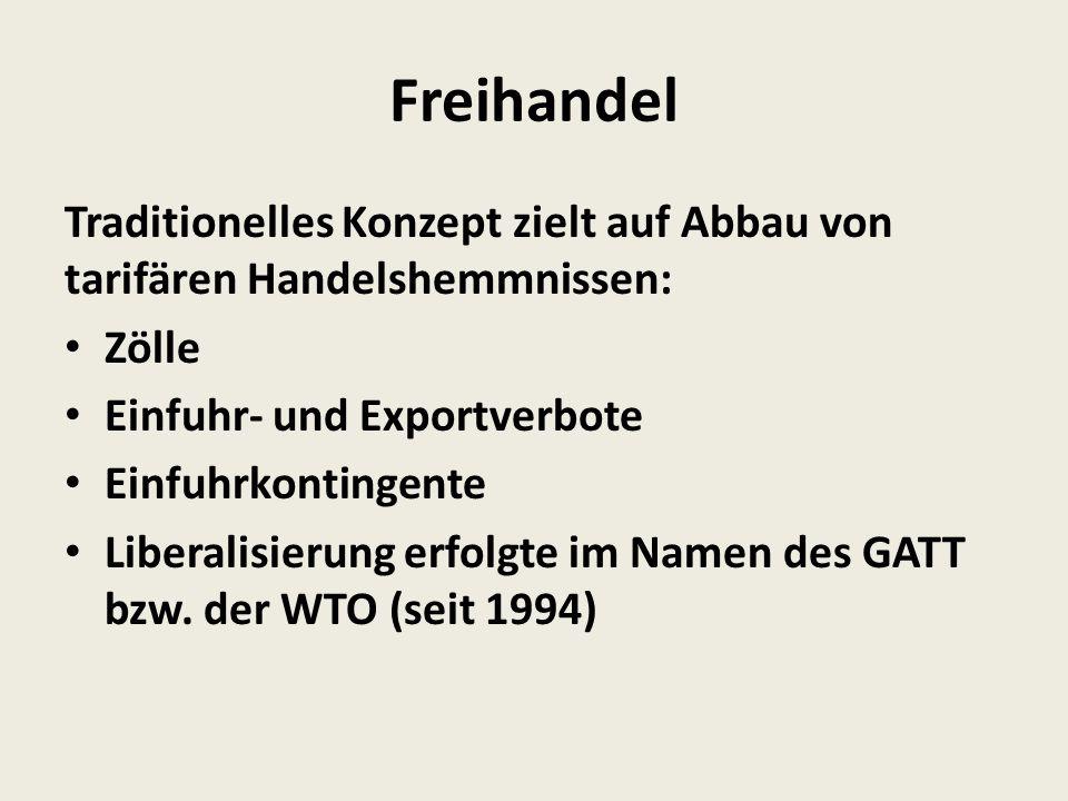 Freihandel Traditionelles Konzept zielt auf Abbau von tarifären Handelshemmnissen: Zölle. Einfuhr- und Exportverbote.