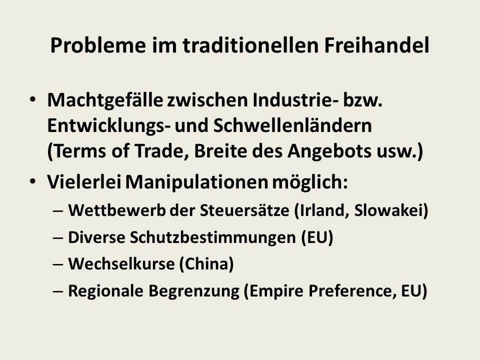 Probleme im traditionellen Freihandel