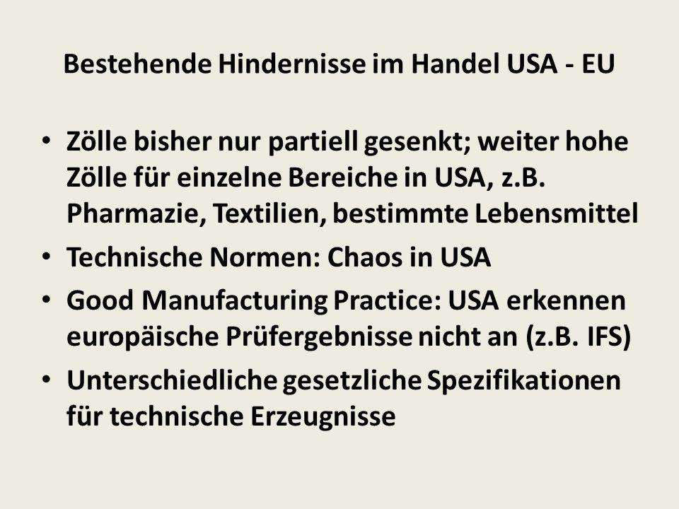 Bestehende Hindernisse im Handel USA - EU