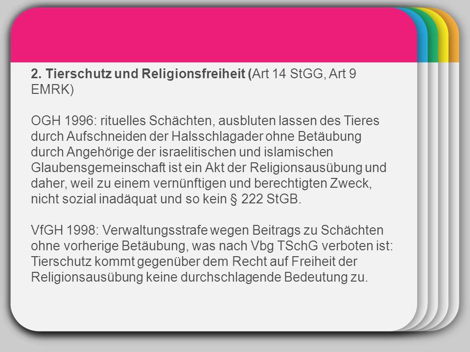 WINTER 2. Tierschutz und Religionsfreiheit (Art 14 StGG, Art 9 EMRK)