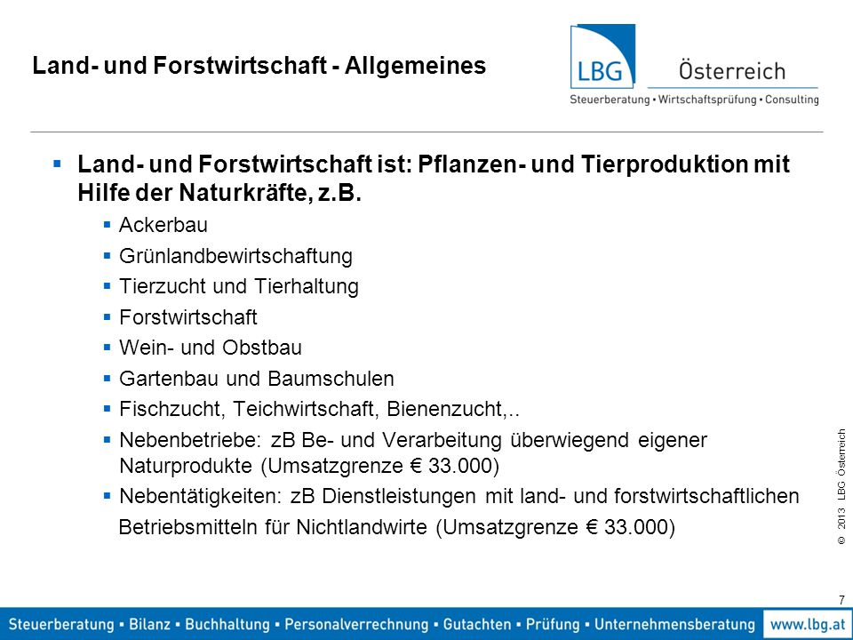 Land- und Forstwirtschaft - Allgemeines