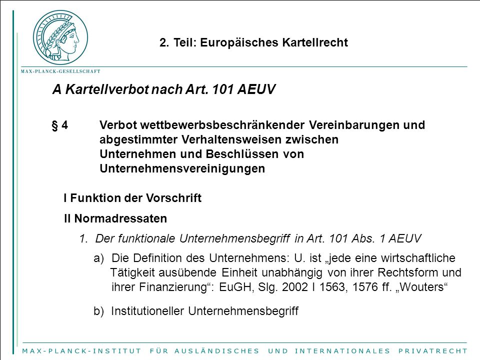 A Kartellverbot nach Art. 101 AEUV