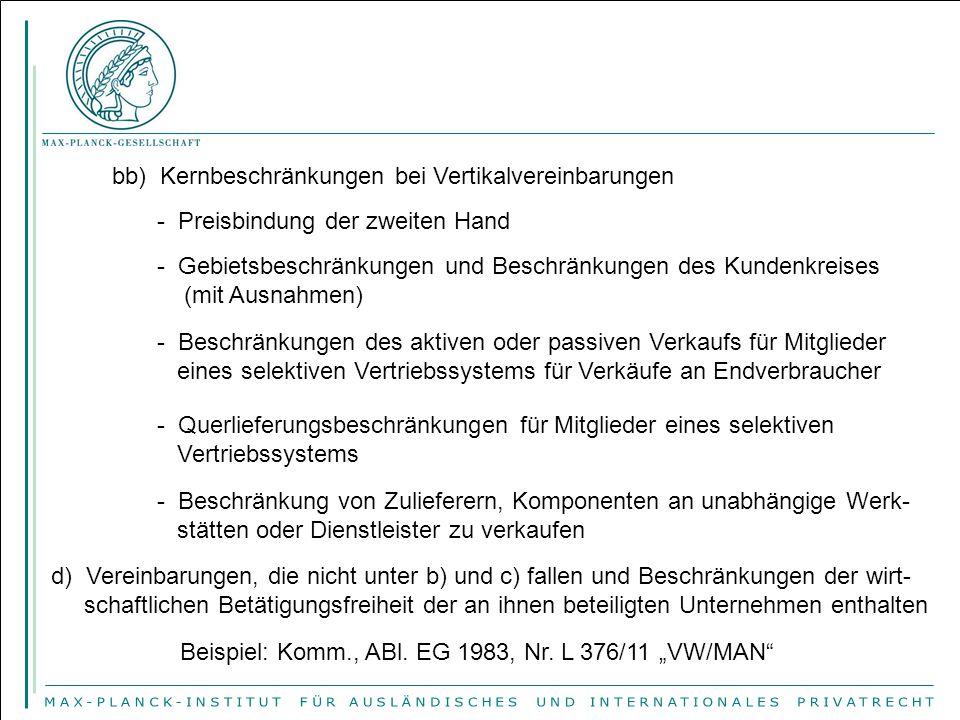 bb) Kernbeschränkungen bei Vertikalvereinbarungen