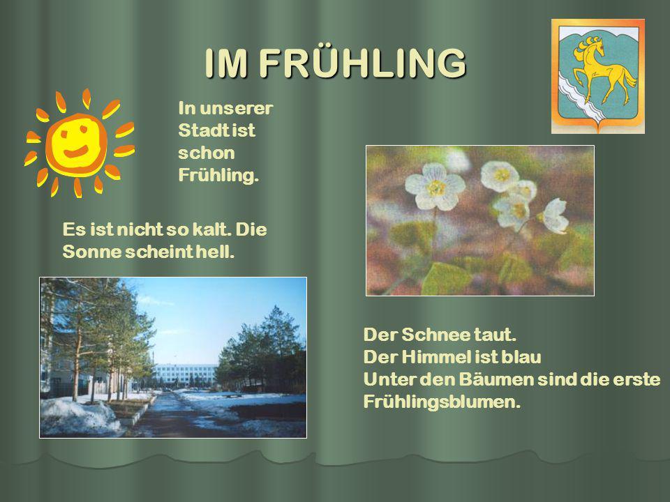 IM FRÜHLING In unserer Stadt ist schon Frühling.