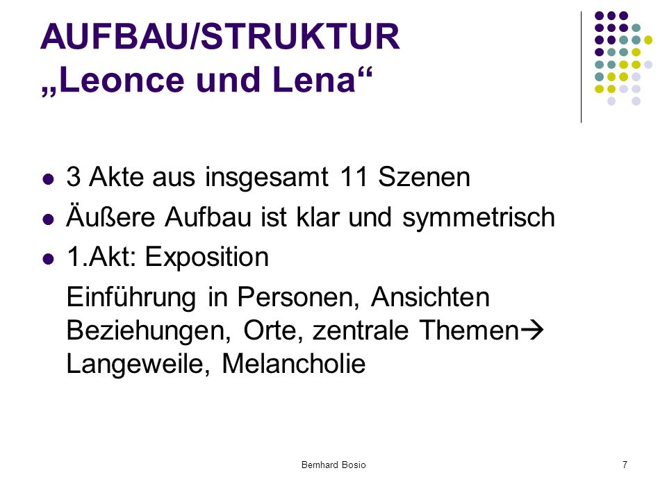 "AUFBAU/STRUKTUR ""Leonce und Lena"