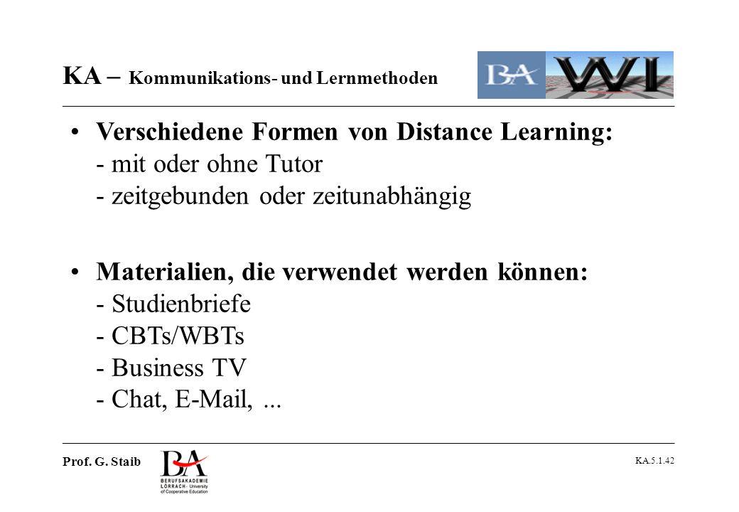 Verschiedene Formen von Distance Learning: - mit oder ohne Tutor - zeitgebunden oder zeitunabhängig