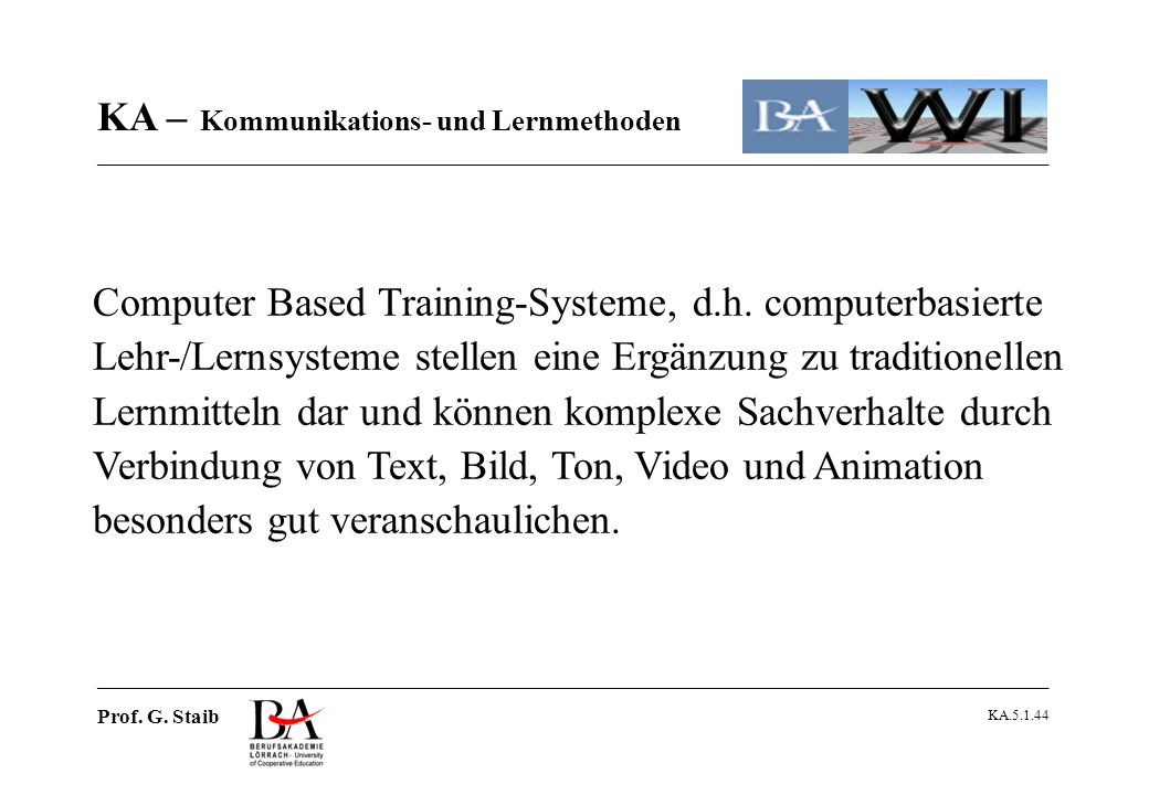Computer Based Training-Systeme, d. h