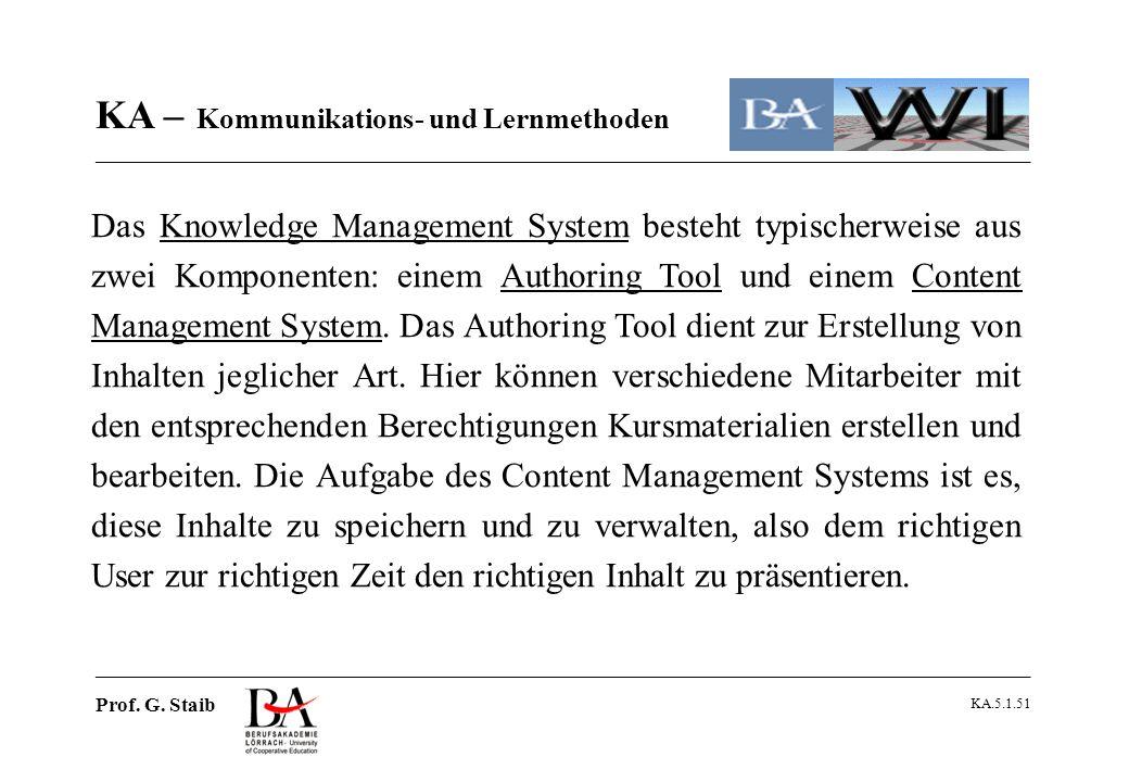 Das Knowledge Management System besteht typischerweise aus zwei Komponenten: einem Authoring Tool und einem Content Management System. Das Authoring Tool dient zur Erstellung von Inhalten jeglicher Art. Hier können verschiedene Mitarbeiter mit den entsprechenden Berechtigungen Kursmaterialien erstellen und bearbeiten. Die Aufgabe des Content Management Systems ist es, diese Inhalte zu speichern und zu verwalten, also dem richtigen User zur richtigen Zeit den richtigen Inhalt zu präsentieren.