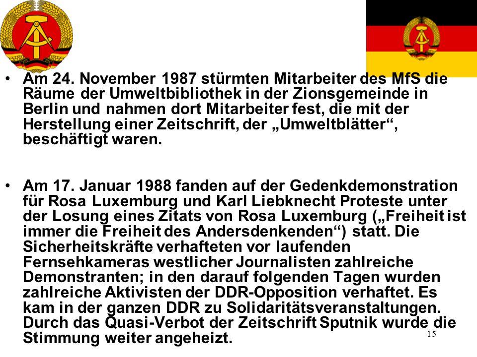 """Am 24. November 1987 stürmten Mitarbeiter des MfS die Räume der Umweltbibliothek in der Zionsgemeinde in Berlin und nahmen dort Mitarbeiter fest, die mit der Herstellung einer Zeitschrift, der """"Umweltblätter , beschäftigt waren."""