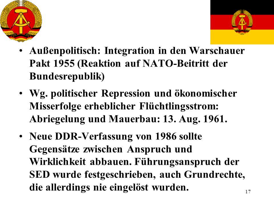 Außenpolitisch: Integration in den Warschauer Pakt 1955 (Reaktion auf NATO-Beitritt der Bundesrepublik)