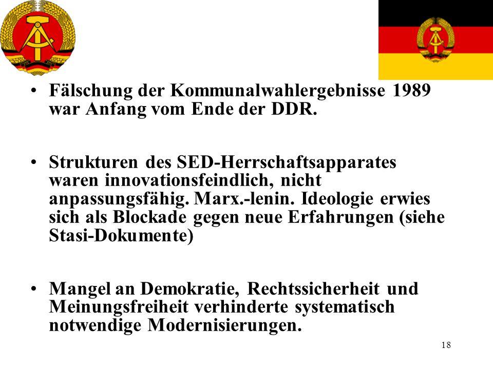 Fälschung der Kommunalwahlergebnisse 1989 war Anfang vom Ende der DDR.