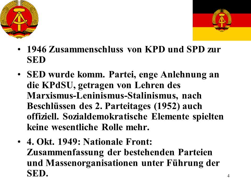 1946 Zusammenschluss von KPD und SPD zur SED