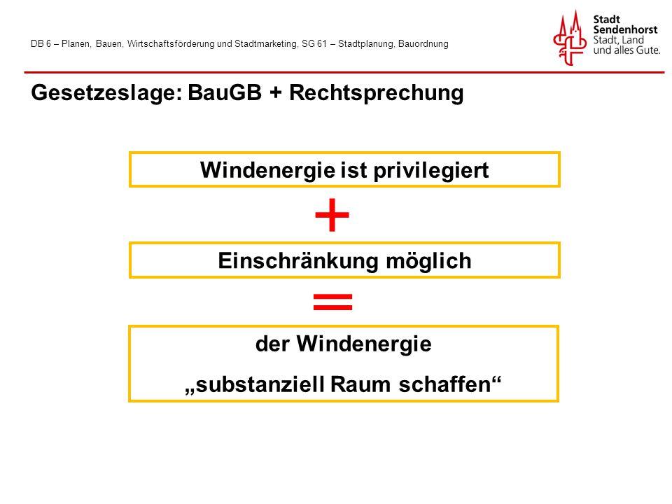 Gesetzeslage: BauGB + Rechtsprechung