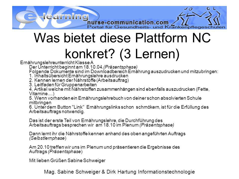 Was bietet diese Plattform NC konkret (3 Lernen)