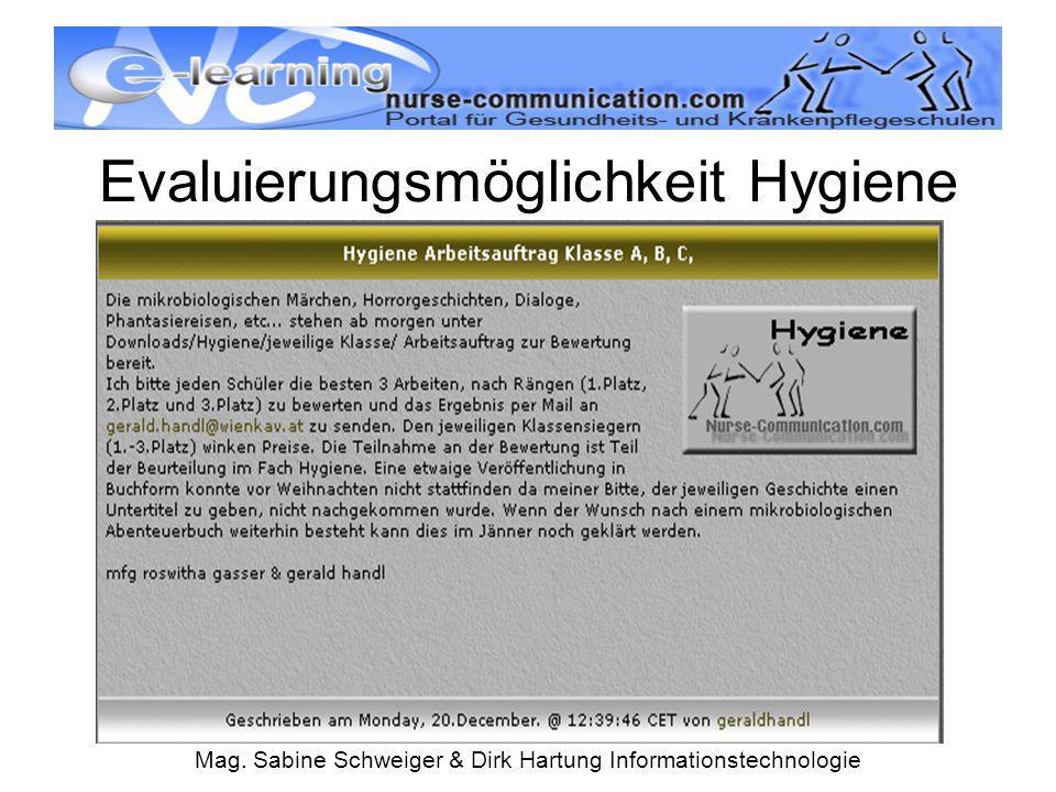Evaluierungsmöglichkeit Hygiene