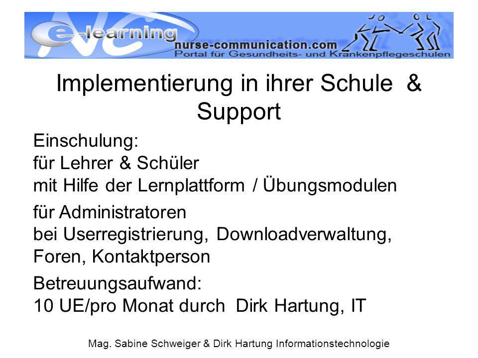 Implementierung in ihrer Schule & Support