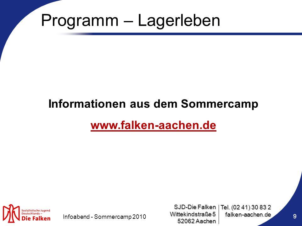 Informationen aus dem Sommercamp