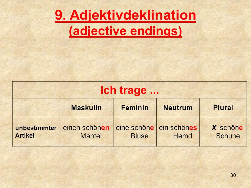 9. Adjektivdeklination (adjective endings)