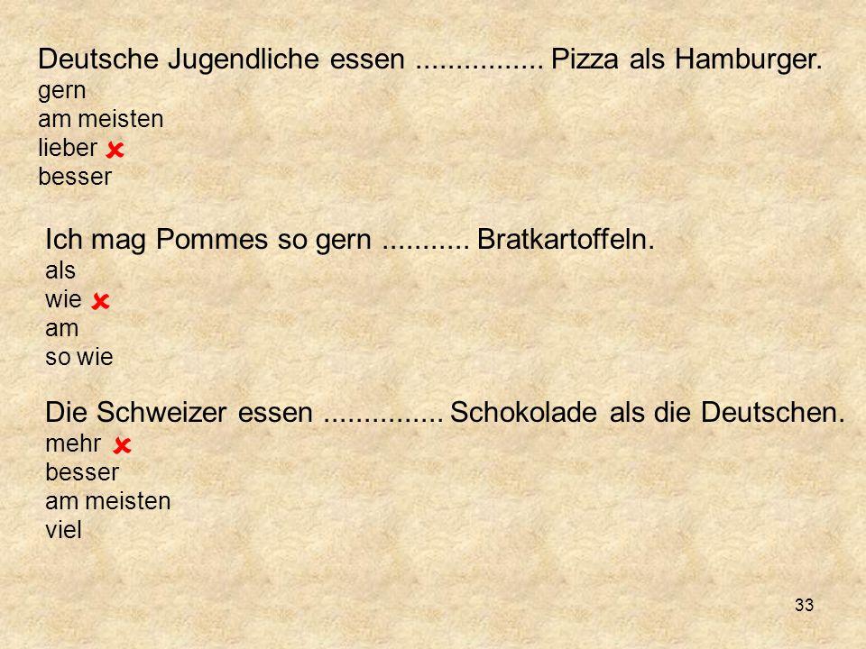    Deutsche Jugendliche essen ................ Pizza als Hamburger.