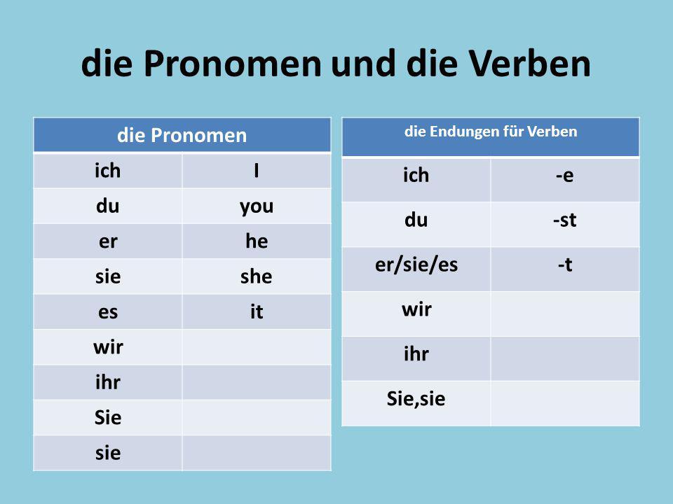 die Pronomen und die Verben
