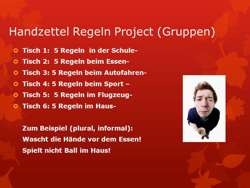 Handzettel Regeln Project (Gruppen)