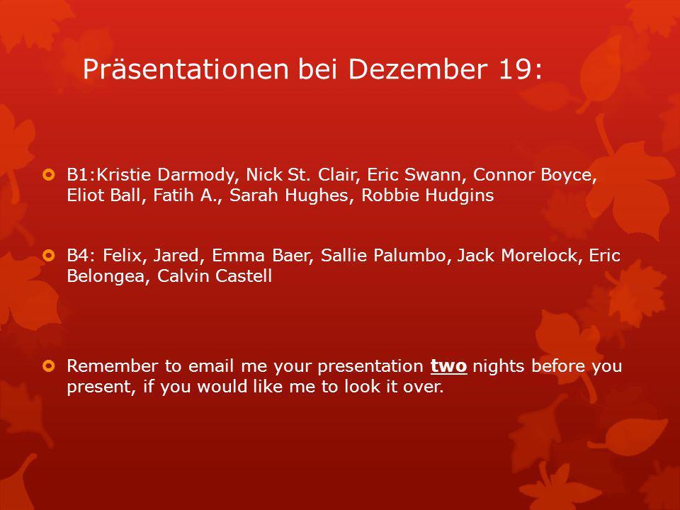 Präsentationen bei Dezember 19: