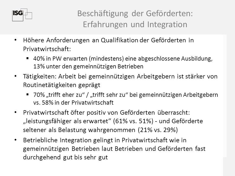 Beschäftigung der Geförderten: Erfahrungen und Integration