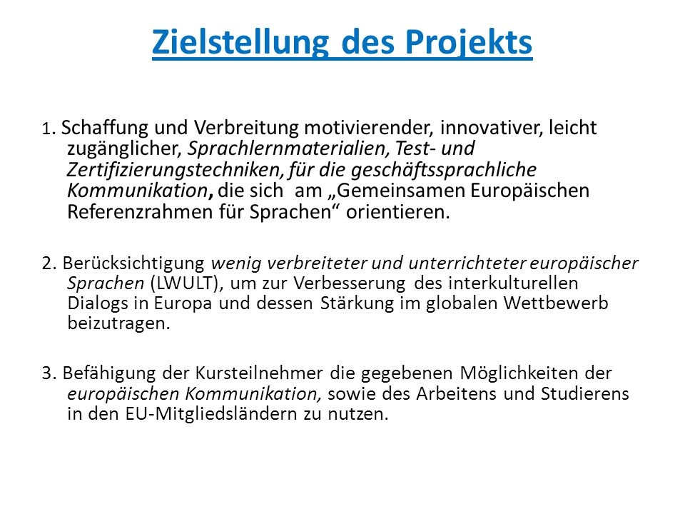 Zielstellung des Projekts