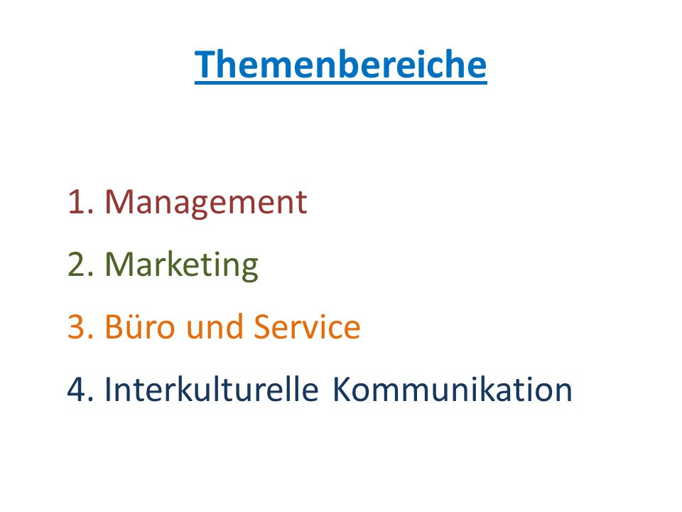 Themenbereiche 1. Management 2. Marketing 3. Büro und Service 4. Interkulturelle Kommunikation