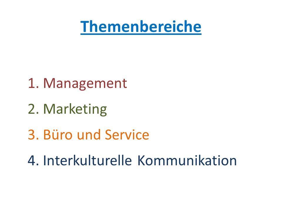 Themenbereiche 1. Management 2. Marketing 3. Büro und Service 4. Interkulturelle Kommunikation