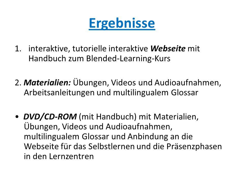 Ergebnisse interaktive, tutorielle interaktive Webseite mit Handbuch zum Blended-Learning-Kurs.