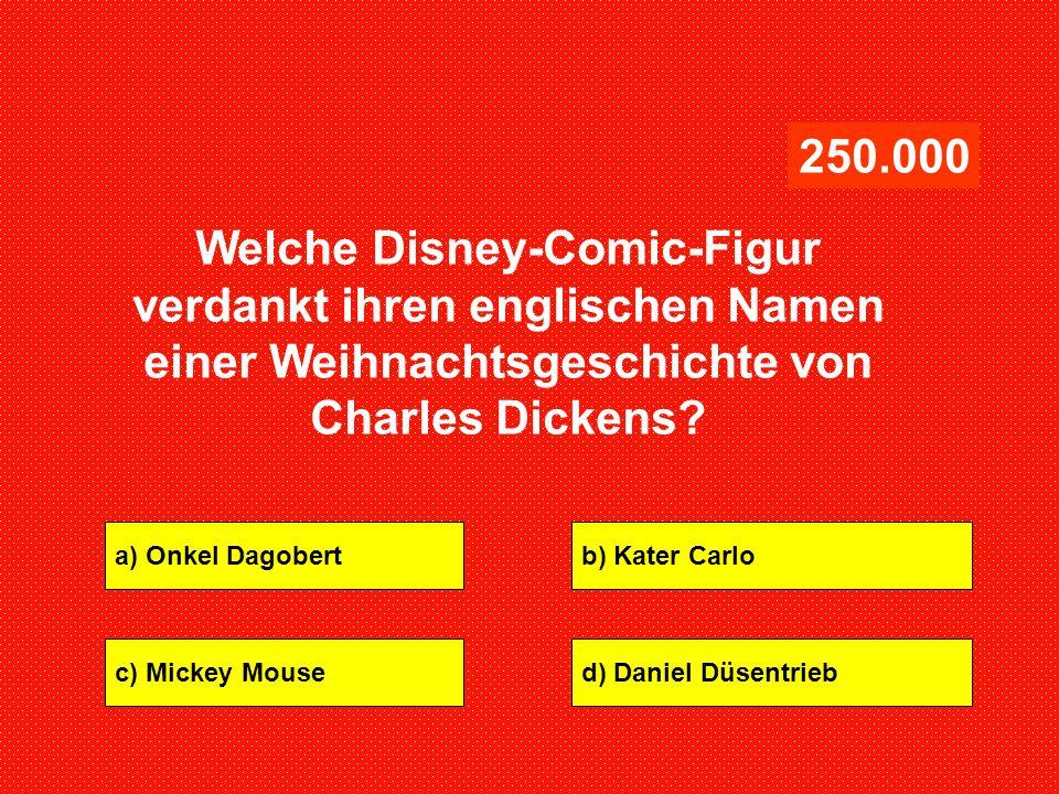 250.000 Welche Disney-Comic-Figur verdankt ihren englischen Namen einer Weihnachtsgeschichte von Charles Dickens